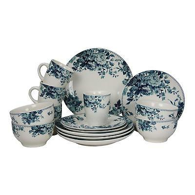 32 Piece Traditional Rose Stoneware Set Blue Service