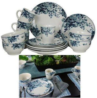 32 piece traditional rose stoneware dinnerware set