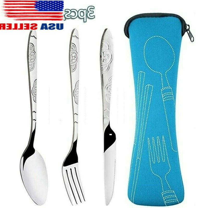 3pcs set dinnerware portable stainless steel spoon