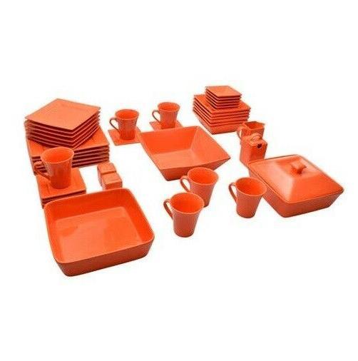 45 Piece Dinnerware Set Square Kitchen Banquet Dinner Plates