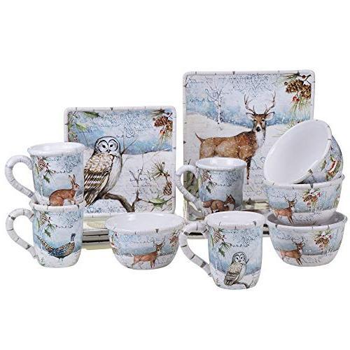 89255 winter lodge dinnerware set