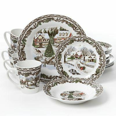 Gibson Home Christmas Toile 16 Piece Dinnerware Set, Multico