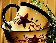 Berry Vine Ceramic Mug - Primitive Star Country Dishes Dinne