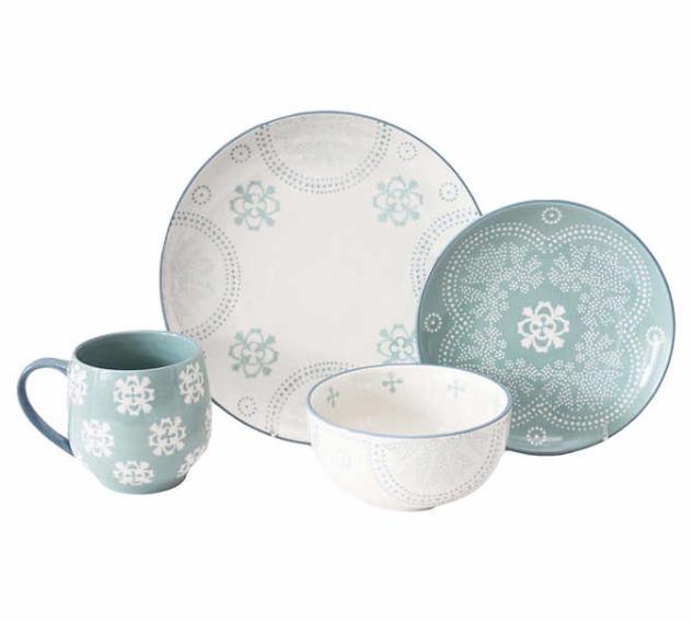 Blue & Stoneware Dinnerware Bowls Mugs 32