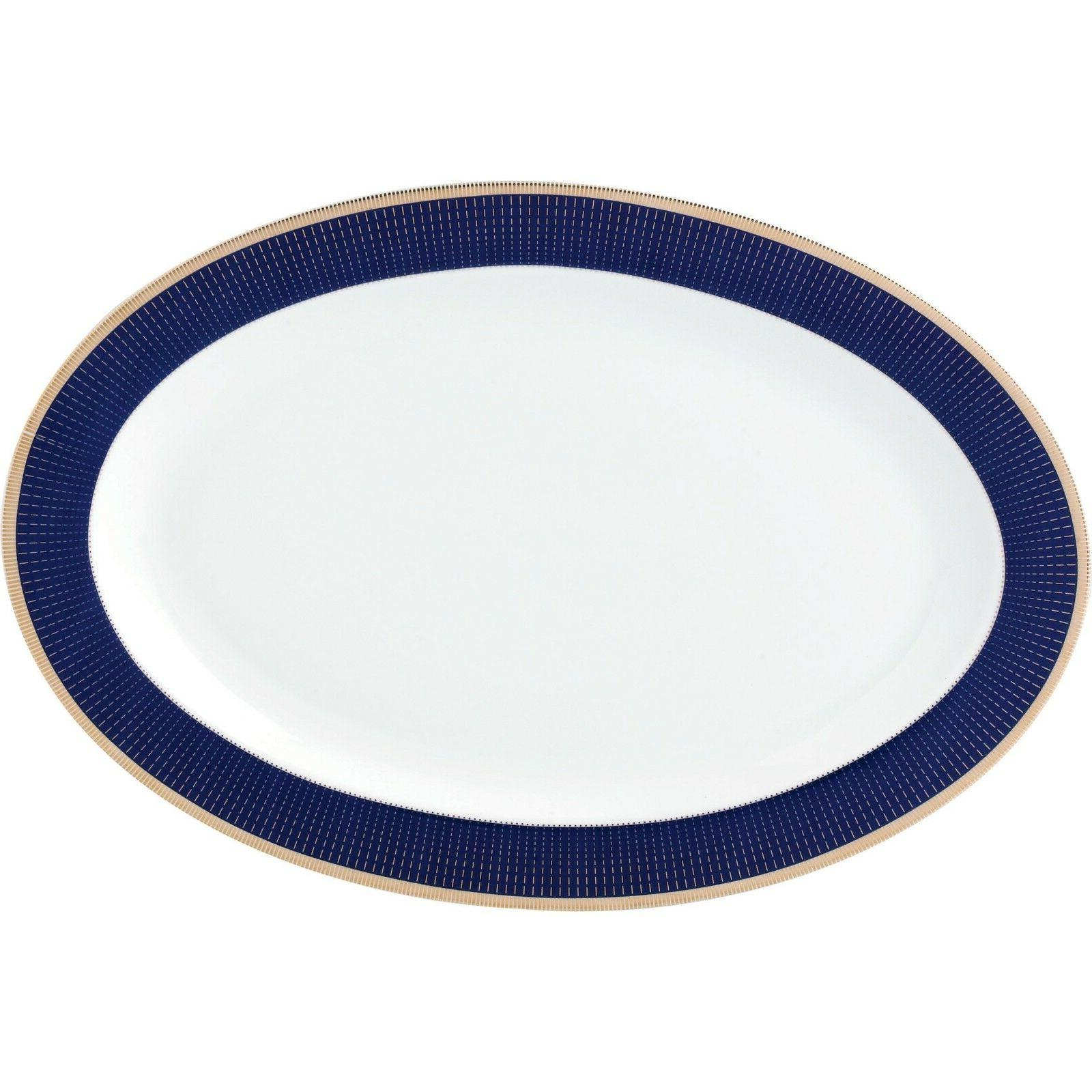 Bone Dinnerware 57 Piece Blue Gold Service For 8 Dining Dishes