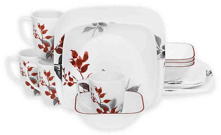boutique kyoto leaves square 16 piece dinnerware