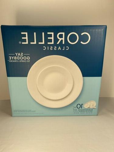 classic winter frost white 10 piece dinnerware