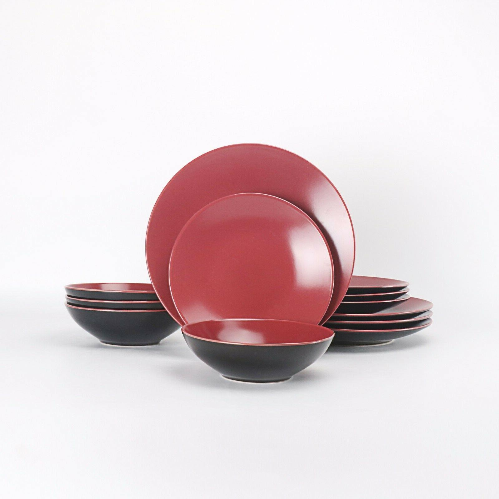 HomeVss Stoneware 12 Pieces Set Two-Tone