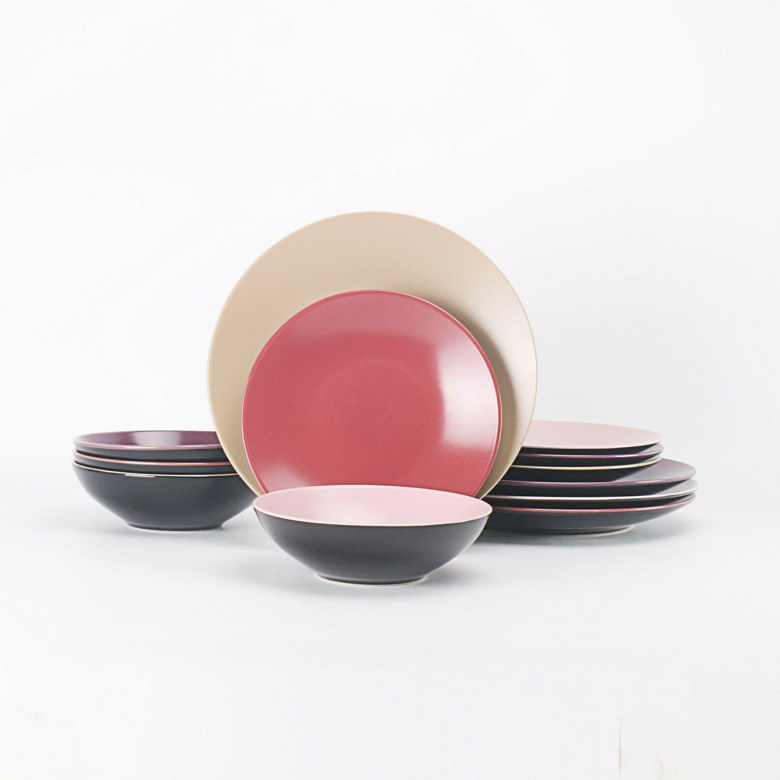 HomeVss Color Stoneware 12 Pieces Dinnerware Two-Tone