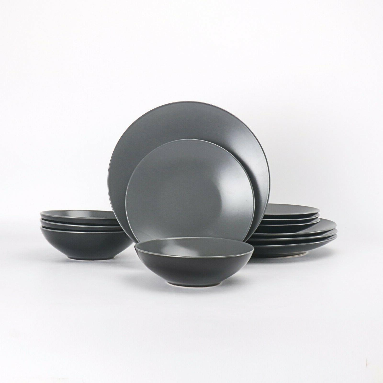HomeVss 12 Dinnerware Set Two-Tone