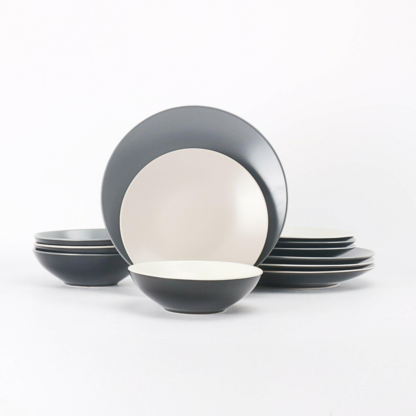 color life stoneware 12 pieces dinnerware set