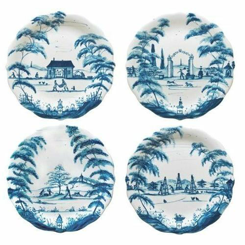 country estate delft blue party plates set