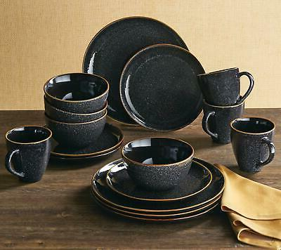 Dinnerware Set 16 Piece Stoneware Serving Dishes Black Speck