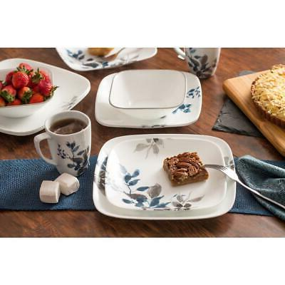 CORELLE Dinnerware Set Gray Leaves Stackable/Chip Resistant