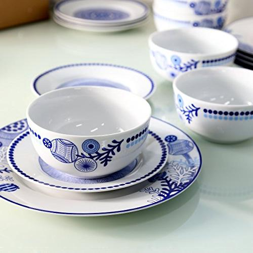 Dinnerware Service 6 and Bowls Plate Kitchen lace and True Blue
