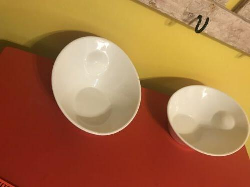 10 White Serving Angled Bowls of 2
