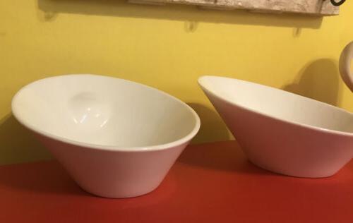 10 Strawberry Street White Pasta Serving Angled Bowls Set 2