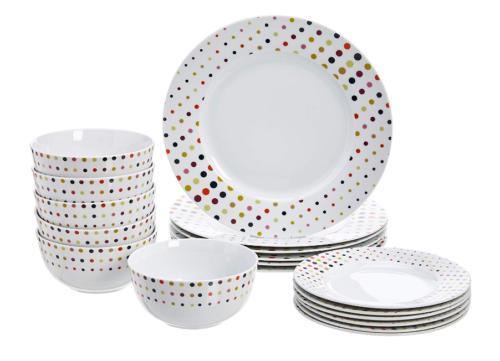 dots color 18 piece dinnerware set dots