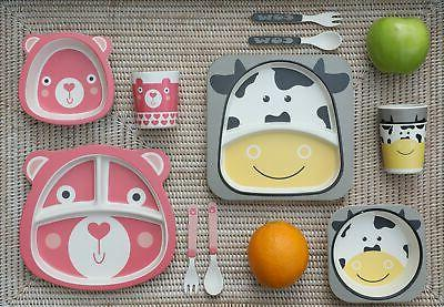 """Friendly Cow"" Kids Eco-friendly Bamboo Dinnerware"