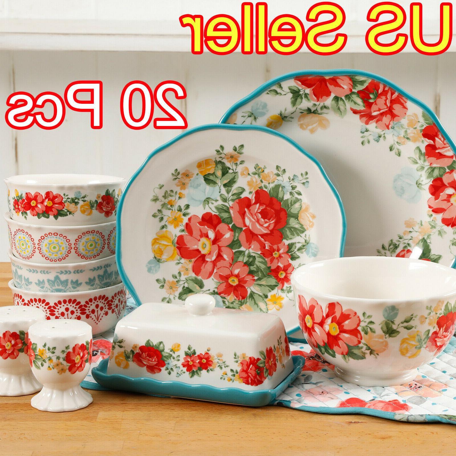 ELEGANT 20-PIECE DINNERWARE SET PLATES CERAMIC VINTAGE FLORA