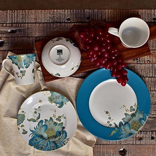 222 Fifth Piece Porcelain Dinnerware with Round for 4, White/Teal