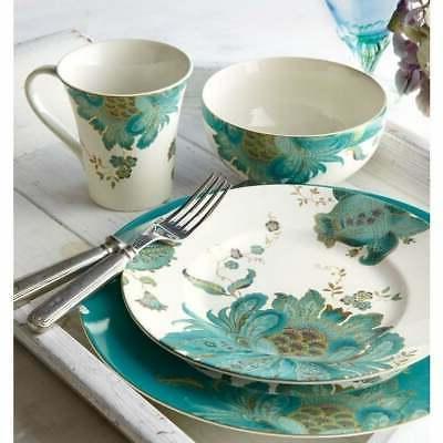 eliza teal dinnerware set