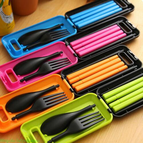 folding fork spoon chopsticks tableware travel camping