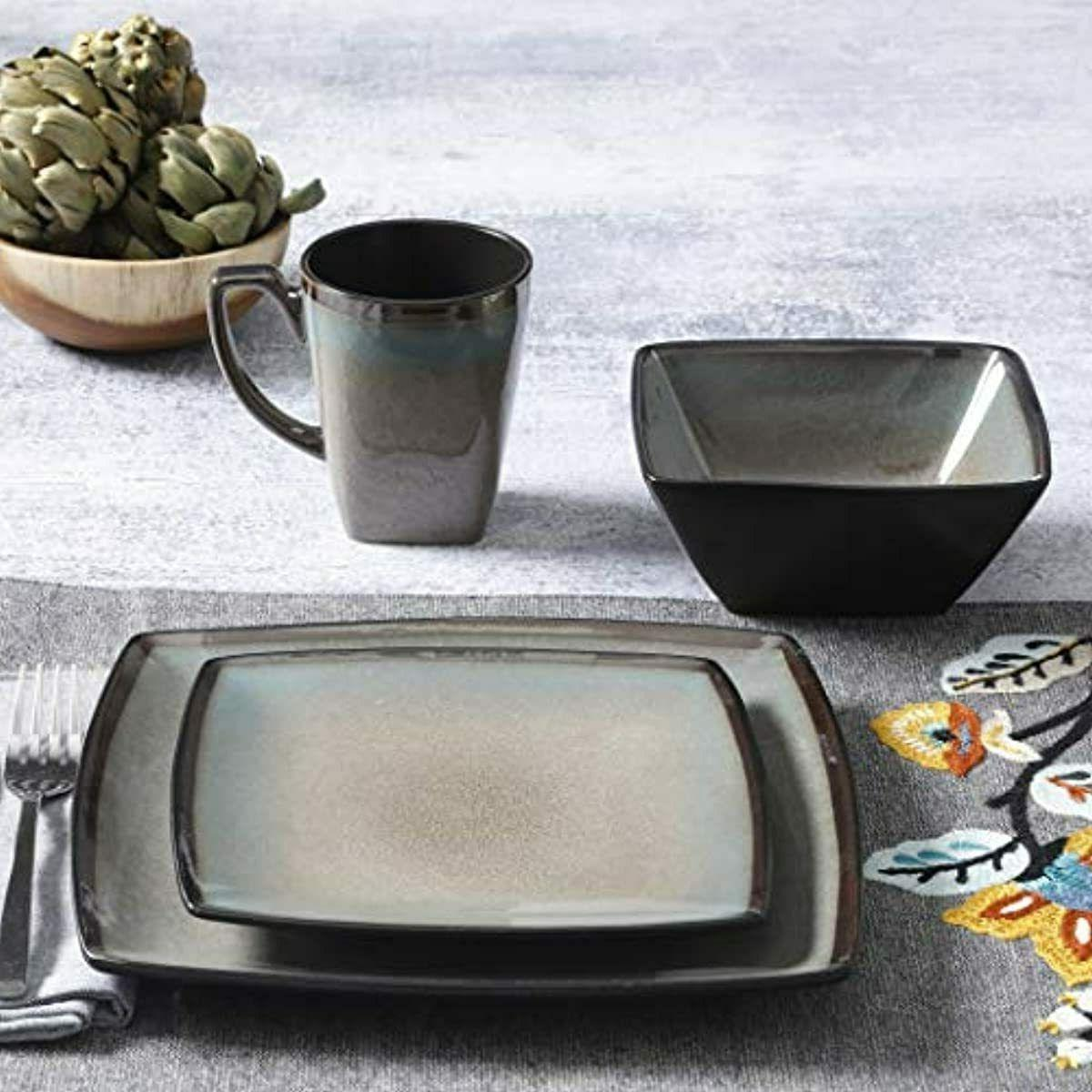 """Gibson Elite Square Dinnerware Taupe SHIPPING"