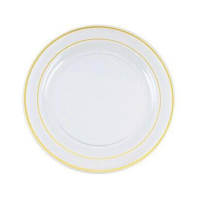 "Gold Plastic Clear 10"" PLATES Wedding Dinnerware"