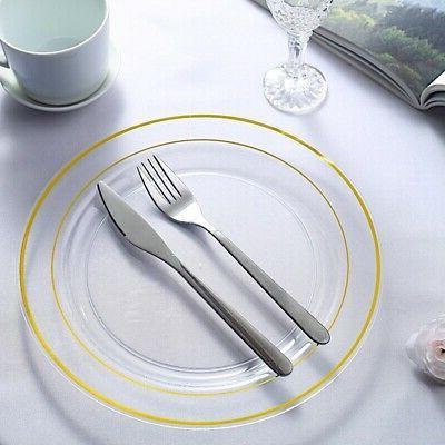 "Gold Rim Plastic Clear 10"" Party Wedding Dinnerware"