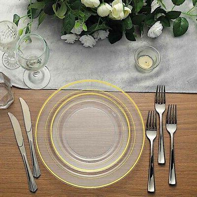 gold rim plastic clear 10 plates disposable