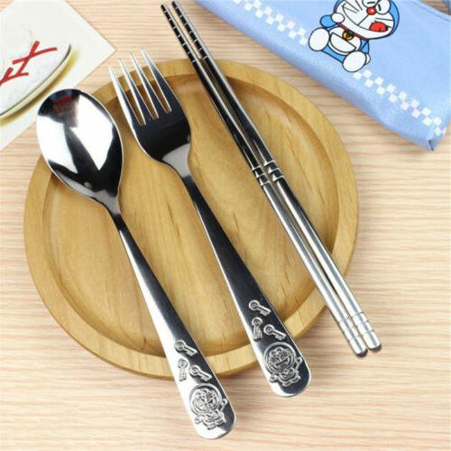 Hello 3PCS/Set Stainless Steel Tableware&Bag