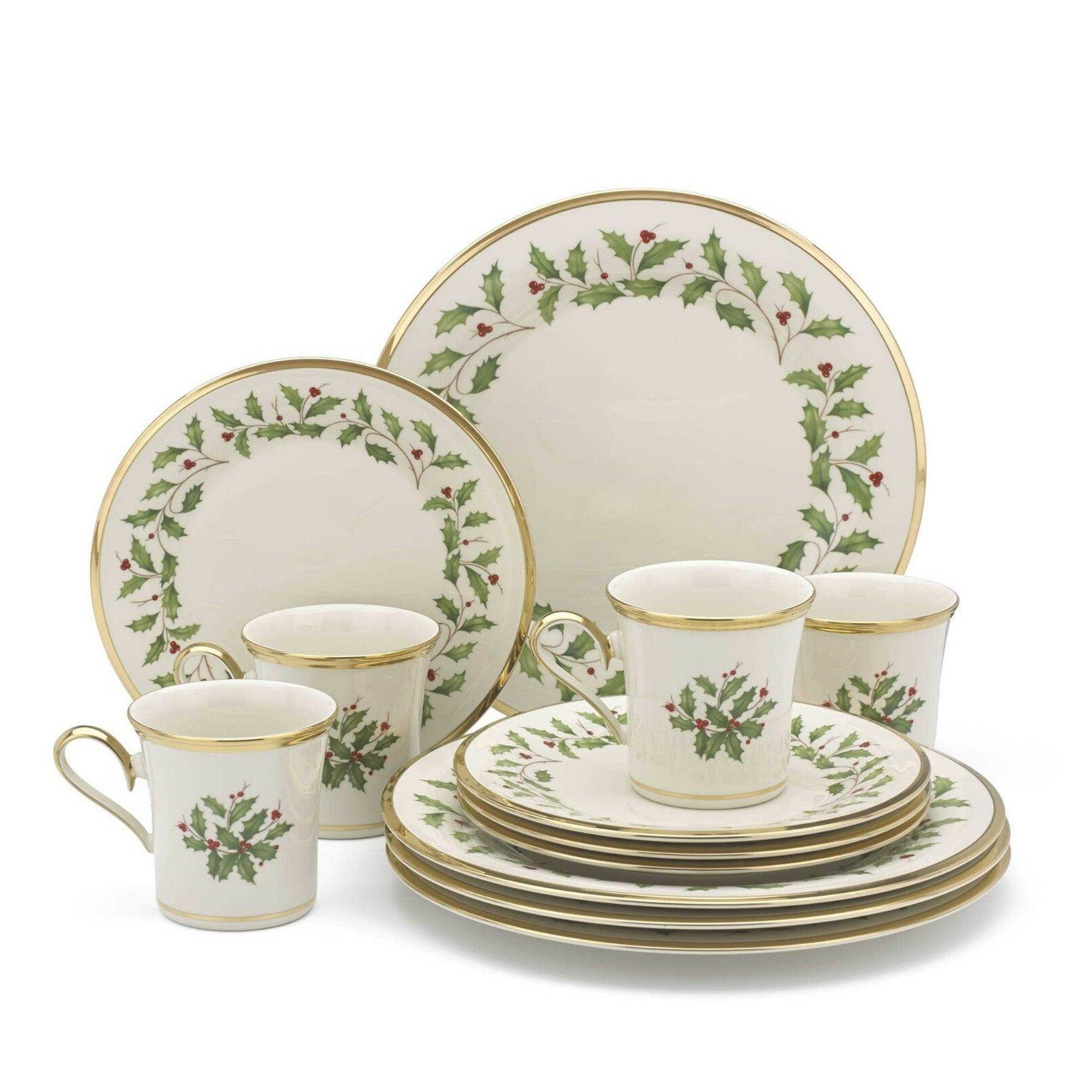 Lenox HOLIDAY 12-Piece Set, Dinner & Salad Plates, Mugs, Bon