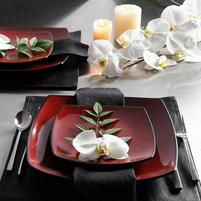 home 16 piece dinnerware set dishes blue