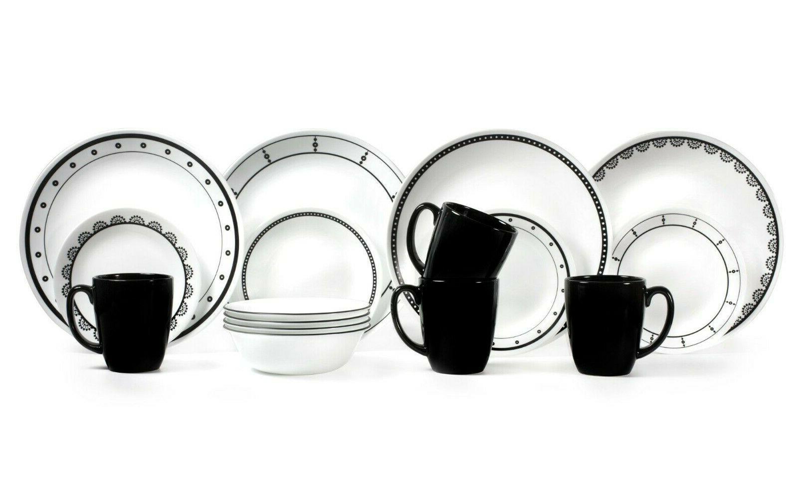 livingware black white dinnerware set