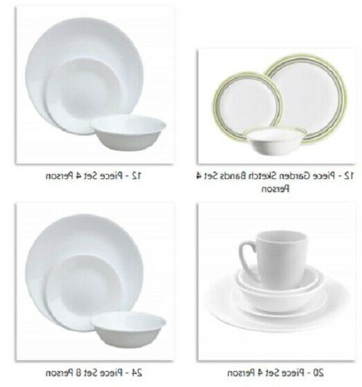 Corelle Livingware Dinnerware Set Basic Service 4 or 8 Break