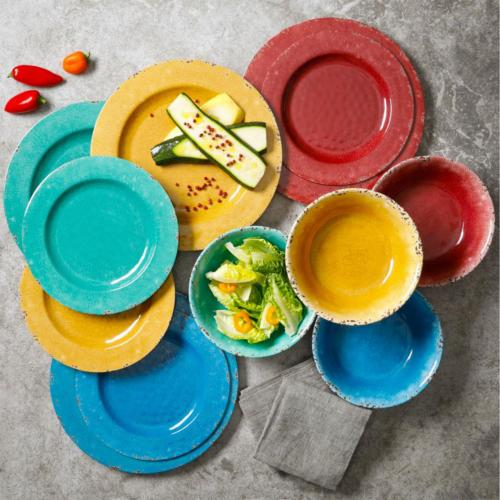 Mauna 12-Piece Casual colors Melamine Outdoor Dinnerware Set for 4