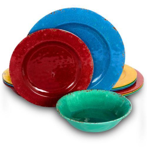 mauna 12 piece casual assorted colors melamine