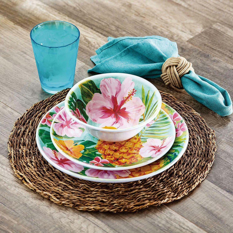 Member's Mark 18-Piece Melamine Dinnerware Set - Hibiscus
