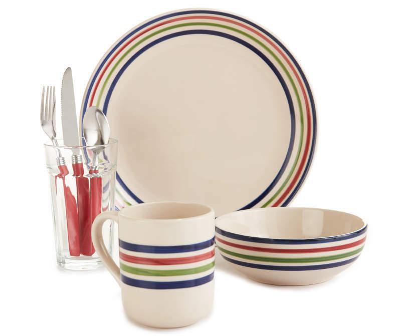 multi color band 28 piece dinnerware set
