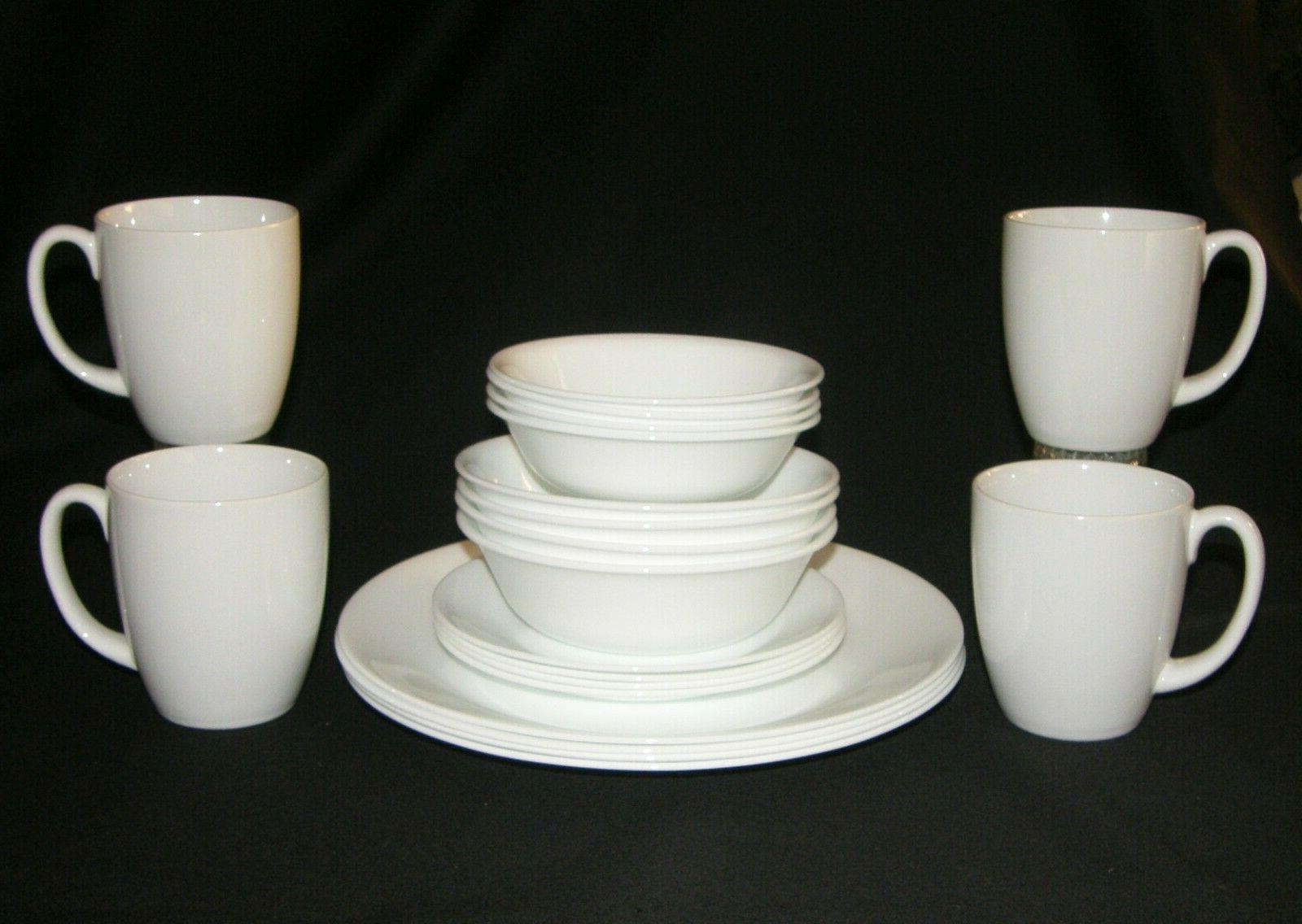 NEW LivingWare White Dinnerware Set 4 NEW