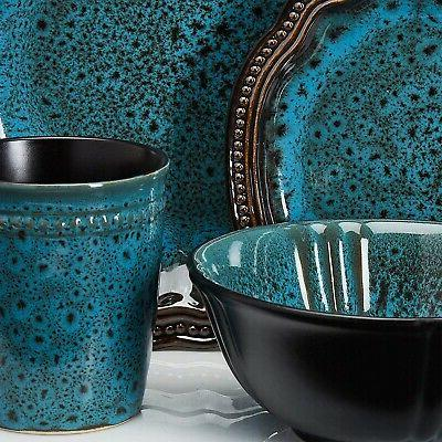 Kitchen Turquoise Plate Dining Bowls Pc