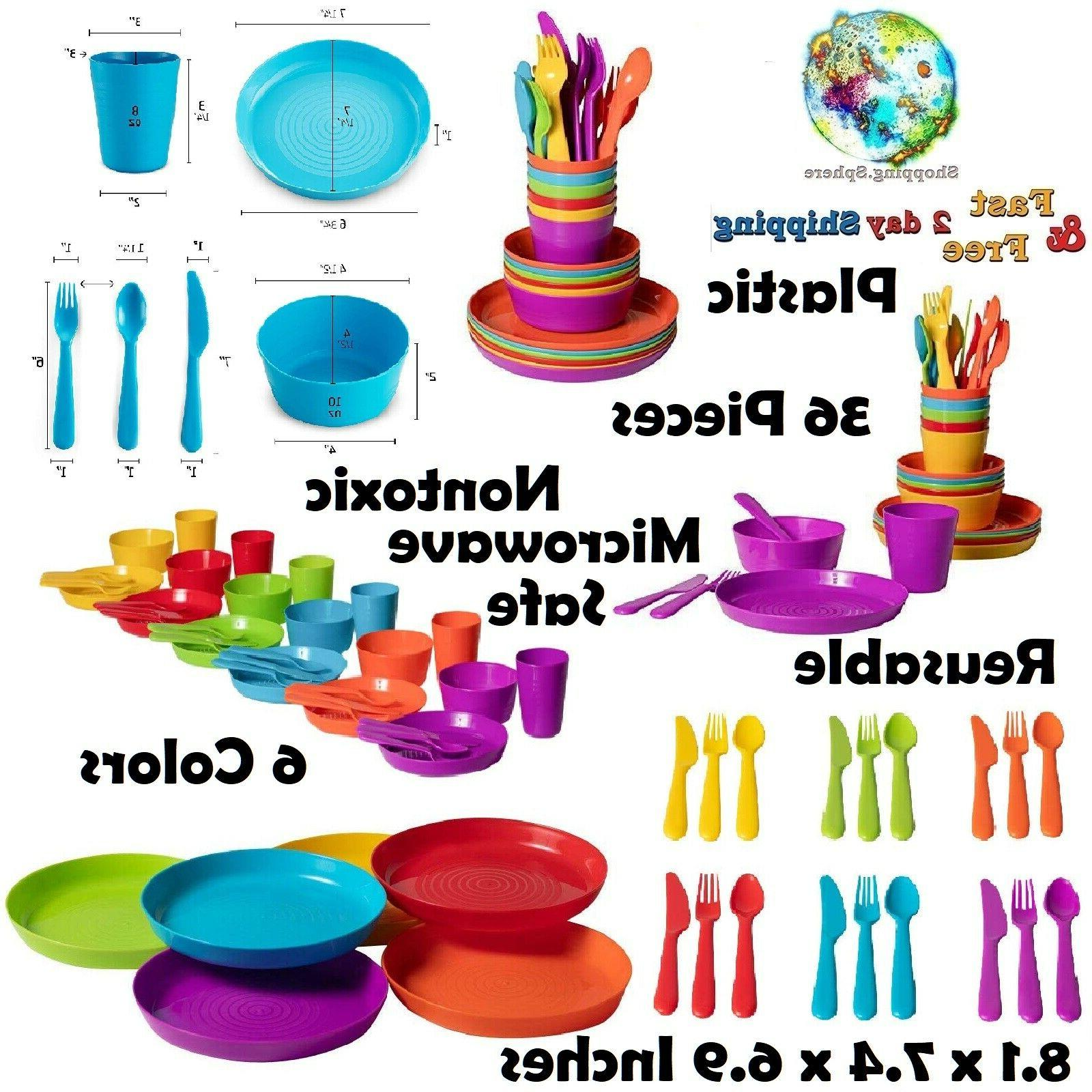 Plastic Dinnerware Set 16 Piece Dinner Sets Kitchen Dining E