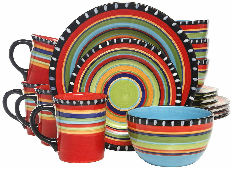 GIBSON PUEBLO PRINGS 16-PIECE STONEWARE DINNERWARE SET DINNE