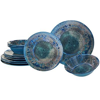 radiance teal melamine 12 pc dinnerware set