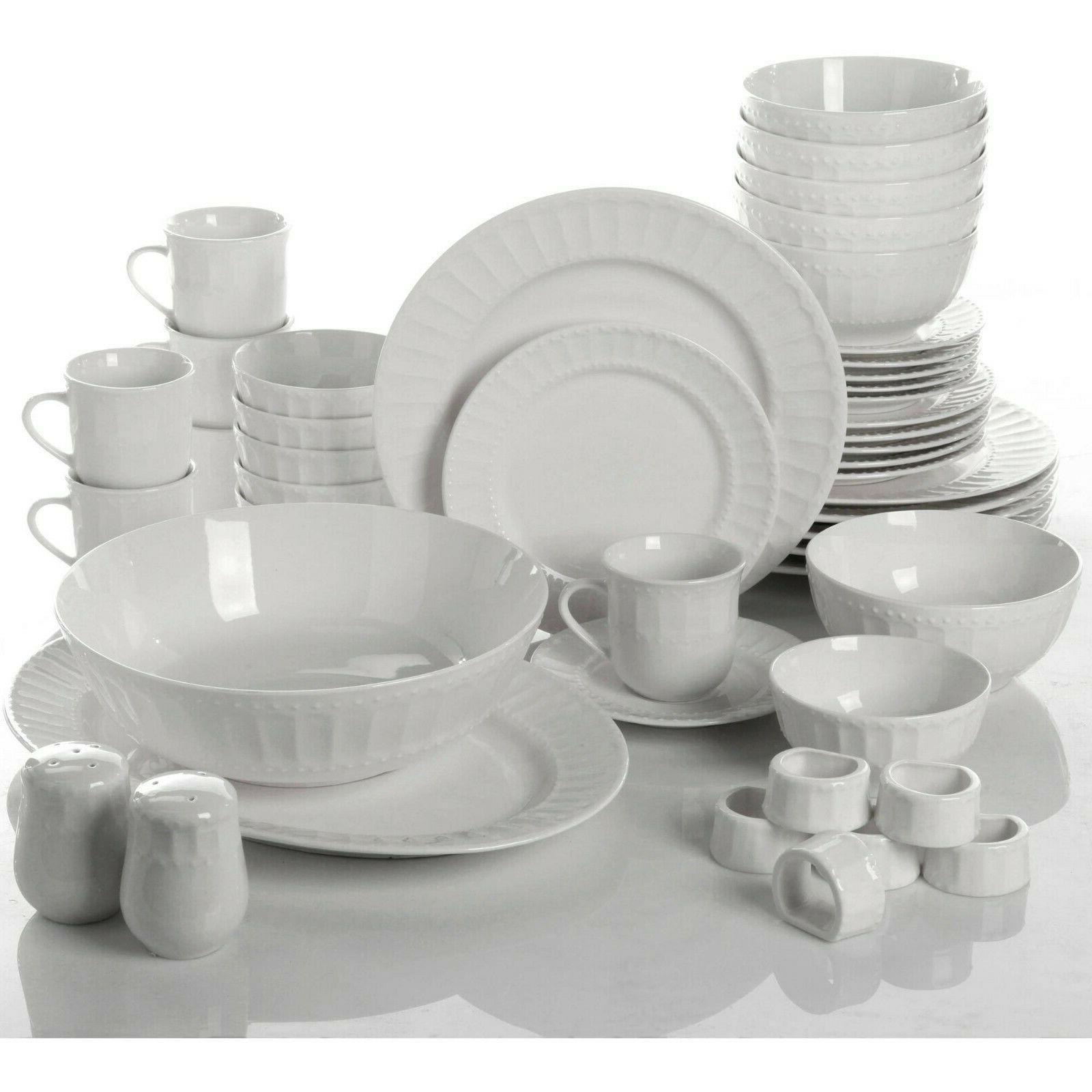Dinnerware Set 46 Piece Plates Dishes Bowls Kitchen China Se