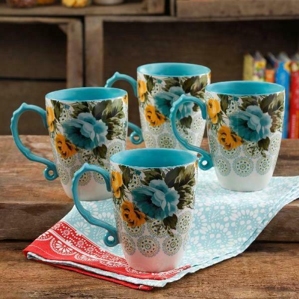 The Pioneer Woman Rose Shadow Jumbo 26-Ounce Latte Mug Set,