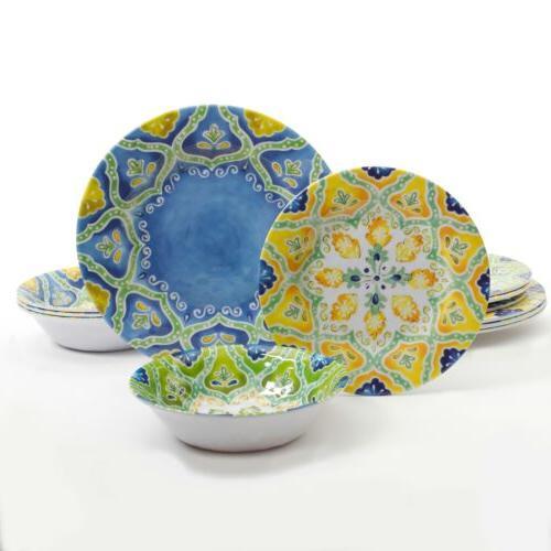 seaberry 12 melamine dinnerware set assorted designs