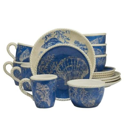 Seaside 16 Piece Dinnerware Set Classic Blue & White Earthen