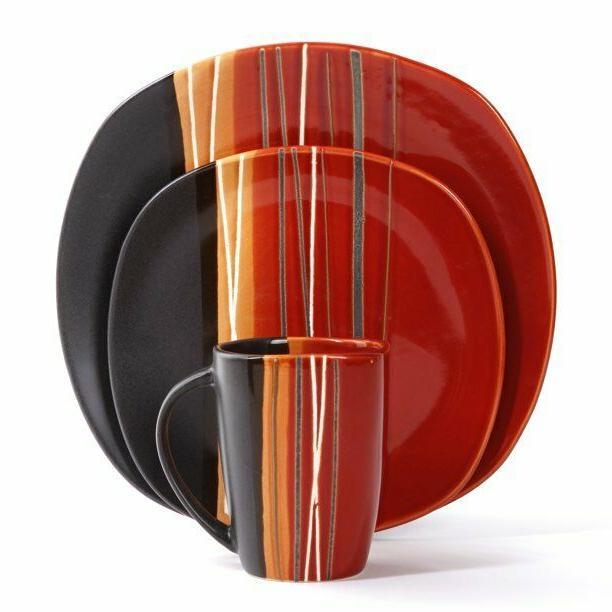 Square Dinnerware Set 4 Stoneware pcs Plates Mug